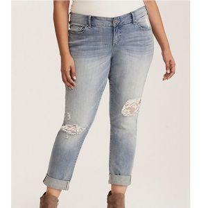 Torrid 14W lace inset distressed boyfriend jeans